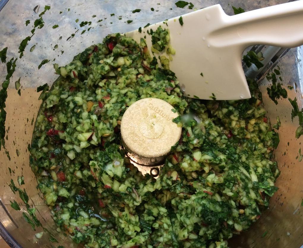 Making apple cilantro salsa in Food Processor