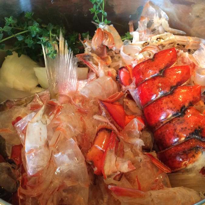 Fish Broth Getting Underway Thyme, Onion, Shrimp and Lobster Shells. Snapper Heads