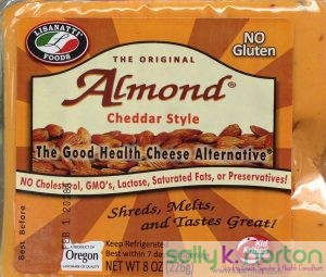 "A bag of cheese-like ""healthy food"" substance made from almonds."